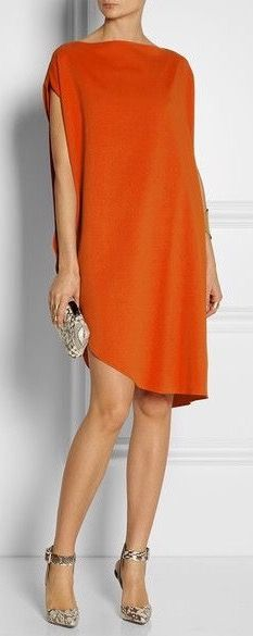 Calvin Klein Collection Tamara draped piqué dress - Love everything about this outfit. Dress Skirt, Dress Up, Draped Dress, Look Fashion, Womens Fashion, Fashion Trends, Short Dresses, Summer Dresses, Orange Dress