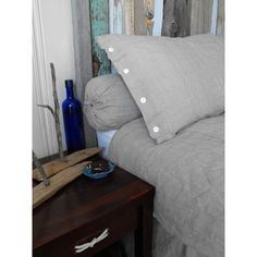 DIY pillow sham! Also, love the headboard, and textures, in this photo!