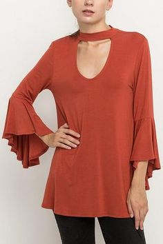 Bamboo Cut out Tunic in Marsala~NPT