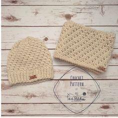 Townsend Beanie & Infinity Scarf Pattern SET http://www.144stitches.com/crochet-pattern-sets/townsend-beanie-and-infinity-scarf-crichet-pattern-set