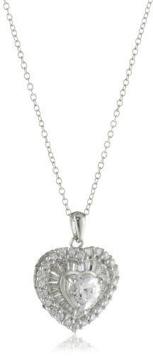 """Diamonesse Rhodium Plated Sterling Silver Heart Pendant Necklace Diamonesse. $30.68. Rhodium plated. Diamonesse rhodium plated sterling silver heart pendant and 18"""" chain. Made in China. Save 62%!"""