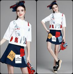 Summer Women Clothing Set/Collar embroidered shirt + Letter jeans skirts fashion suit,Women's Cloth