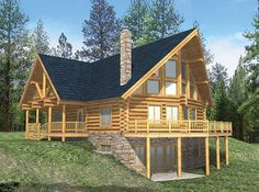Log Houses House Plan with 3725 Square Feet and 6 Bedrooms from Dream Home Source   House Plan Code DHSW58883