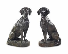 A pair of French cast-bronze models of hounds Dog Zodiac, Chinese Astrology, Dog Years, Sculpture Art, Interior And Exterior, Beautiful Homes, Bookends, It Cast, Bronze