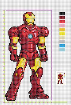 Plantilla de Iron Man a partir de un Hama ya montado encontrado en internet Iron Man, Cross Stitch Pattern Maker, Cross Stitch Patterns, Plastic Canvas Box Patterns, Easy Pixel Art, Marvel Cross Stitch, Anime Pixel Art, Cross Stitch For Kids, Minecraft Pixel Art