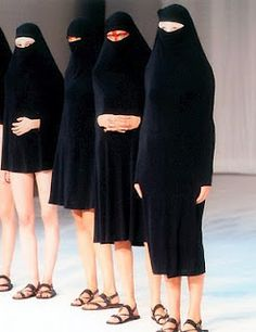 Hussain Chalayan 1998 burqa show was controversial before the entire 911 thing took of mostly because he kept raising hemlines keeping the face covered. I like the 3/4 length skirt burqa best.