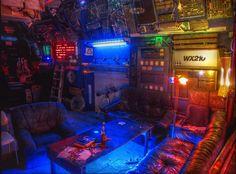cyberpunk decor / sci fi dwelling / colorful / city lights / urban futuristic / digital art