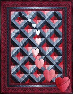 valentine, cascading hearts, quilting lines simple but elegant