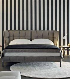 Fabric double bed with upholstered headboard HUSK by B&B Italia | #design Patricia Urquiola @bebitalia