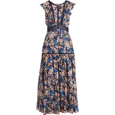 Rebecca Taylor Gigi floral-print ruffle-trimmed cotton dress ($551) ❤ liked on Polyvore featuring dresses, blue print, floral print long skirt, blue dress, long blue skirt, patterned maxi skirt and blue floral dress