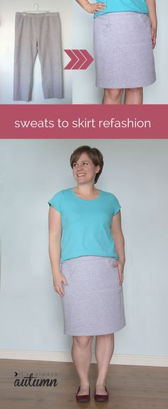 how fun! easy tutorial shows how to take old sweats and turn them into a cute, comfy skirt. #sewing #refashion