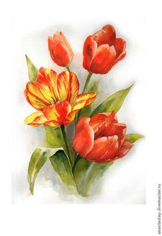 Картины цветов ручной работы. Тюльпаны. Анастасия Беседина. Интернет-магазин Ярмарка Мастеров. Цветы, картина с цветами, картина для интерьера