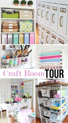 Home office  - studio craft room tour. Many budget friendly ways to set up your creative work space in your home.