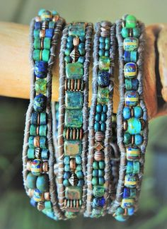 TEAL Colored GLASSES 4 Wrap natural Gray Leather Bracelet>blue-green CHRYSOCOLLA gemstone & Czech Picasso Beads/Teal Tiles+Antique Copper