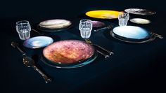 A cosmic collection of dinner plates? Thank goodness Diesel Living teamed up with Seletti to produce the Cosmic Diner Collection, because our tabletops just aren't complete witho… Diesel, Modern Dinnerware, Dining Plates, Plate Design, Architectural Digest, Cosmic, Accent Decor, Design Trends, Design Ideas