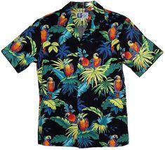 Paradise Parrots - Mens Hawaiian Aloha Shirt - Black