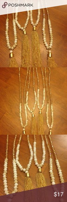 "⚡️💥 Fashion Necklace 🔥✨ NWT! 34"" with extender.  Gold tone with gold tassels and beautiful sparkle honey colored beads and white moonstone colored beads. New with tags.  This is for one necklace. Or make an offer on more than one!👍🏻 Jewelry Necklaces"