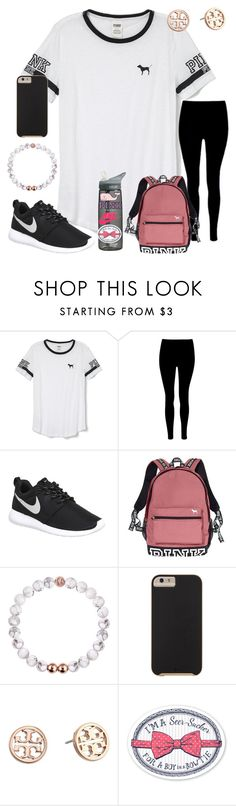 """""""Took the PSAT today"""" by ctrygrl1999 ❤ liked on Polyvore featuring Victoria's Secret PINK, NIKE, Victoria's Secret, Case-Mate, Tory Burch, CamelBak and Vineyard Vines"""