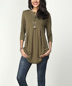 Another great find on #zulily! Olive Notch Neck Button-Front Tunic by Reborn Collection #zulilyfinds