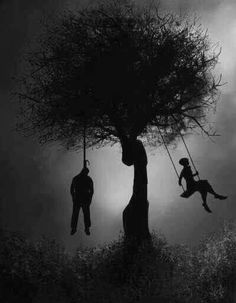 Scary sad... He hung himself and she's swinging .. Holy crap that's messed up