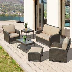 Garden Lounge Furniture Set Patio Outdoor Rattan Sofa Side Coffee Table Footstoo