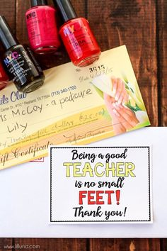Pedicure Gift Card Teacher Gift with free Tags - also free tags for mom for Mother's Day and for a friend for any day. Free prints on { lilluna.com } #gifts