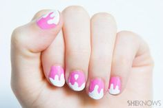 DIY Melting ice cream nail design DIY Nails Art