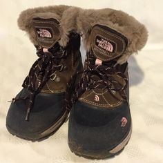 The North Face Girls Insulated McMurdo Boots 3 The North Face Girls Brown McMurdo Insulated Waterproof Boots. Size Girls 3. Soft Faux Fur Trim. Some signs of wear, but still great Winter boots. No trades The North Face Shoes Winter & Rain Boots