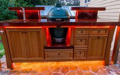 Order Your Custom Indoor and Outdoor Tables and Kitchens From Posh Patios: www. Big Green Egg Outdoor Kitchen, Big Green Egg Table, Green Egg Grill, Outdoor Kitchen Plans, Outdoor Kitchen Design, Green Eggs, Outdoor Kitchens, Outdoor Cooking, Large Backyard