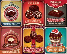 Vector: Vintage chocolate poster design set