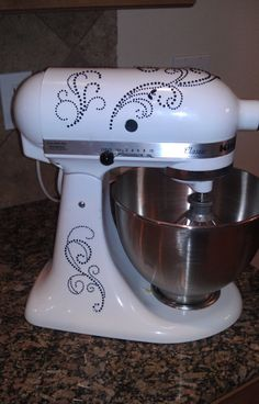 Glam up your plain KitchenAid Mixer by adding stick on decals from the craft store!