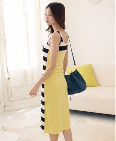 J71257 Korean Fashion Stripes Splicing Long Dress [J71257] - $5.50 : China,Korean,Japan Fashion clothing wholesale and Dropship online-Be the most beautiful Lady