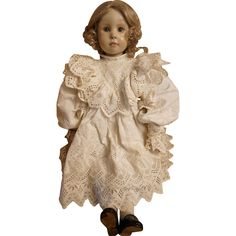 This very special doll was part of doll artist Pat Thompson's private doll collection.  According to the accompanying tag it is a French doll, found at www.rubylane.com #vintagebeginshere #frenchdolls #antiques