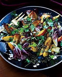For a delicious fall salad, Nicholas Wilber tops sweet spice-roasted squash and apples with lemony lentils. Lentil Salad Recipes, Warm Salad Recipes, Vegetarian Recipes, Healthy Recipes, Weeknight Recipes, Detox Recipes, Healthy Salads, Healthy Food, Winter Salad