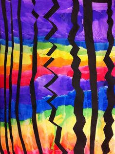 ROYGBIV painting lesson then cut and collage