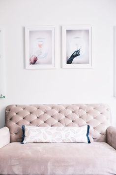 Pink couch and Gray