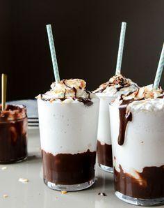 Boozy Coconut Hot Fudge Milkshakes ~ an insanely tempting blend of coconut ice cream, coconut milk, coconut rum, and hot fudge!