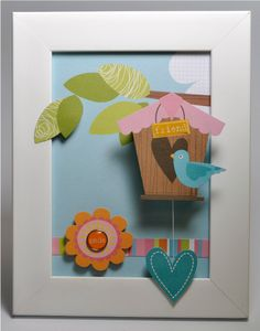 A sweet little frame that is made with a page from the Meadow Sweet paper collection...perfect for a children's room and so simple to make!