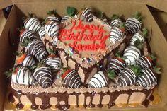 Chocolate and strawberry birthday cake