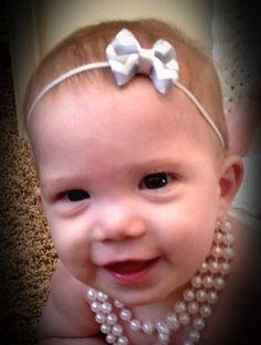 Baby Headband, Newborn Headband, Child Headband, Grey Chevron, Bow, White, Pink. $4.00, via Etsy.