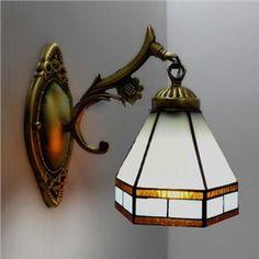 Fait à la main Vitrail Bronze Finition Tiffany Une-lampe Applique murale