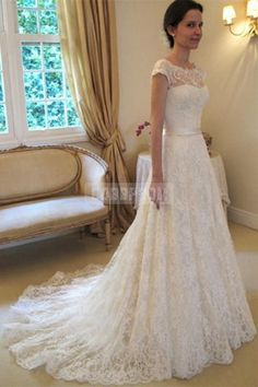 Scoop Neckline Capped Sleeves A-line Belt Lace Wedding Dress