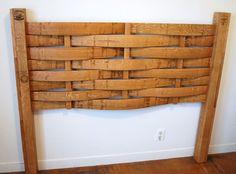 Headboard made from wine barrel