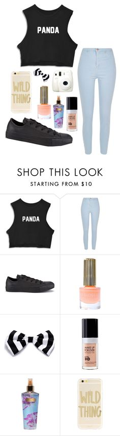 """Untitled #52"" by breanna113 ❤ liked on Polyvore featuring River Island, Converse, Floss Gloss, Fuji, MAKE UP FOR EVER, Victoria's Secret and Sonix"