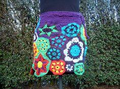 Colourful crochet skirt