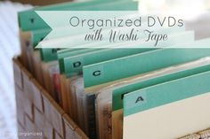 simply organized: Project Update: DVD washi tape dividers how to Diy Dvd Storage, Dvd Organization, Storage Ideas, Media Storage, Smart Storage, Organize Dvds, Tapas, Diy Rangement, Storage Solutions