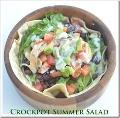 Crockpot Summer Salad- SUPER YUMMY! I baked the chicken & used Green Goddess salad dressing.