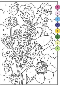 Color By Numbers Flowers Coloring Pages - Coloring Ideas Colouring Pics, Flower Coloring Pages, Coloring Book Pages, Printable Coloring Pages, Coloring Pages For Kids, Adult Color By Number, Color By Number Printable, Color By Numbers, Paint By Number