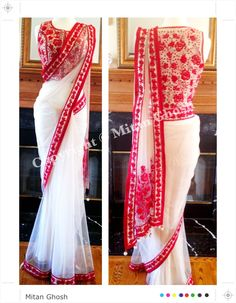 And love the sari! White net saree with Resham embroidery. Blouse on shimmer georgette with all over embroidery. Red And White Saree, White Saree Blouse, Indian Blouse, Saree Dress, Indian Sarees, Bengali Saree, Silk Sarees, Fashion Designer, Indian Designer Wear