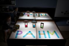 DIY Activity Table.  Light Table, Geoboard, Light Brite, White board, Chalkboard, Lego Table, and Work Space
